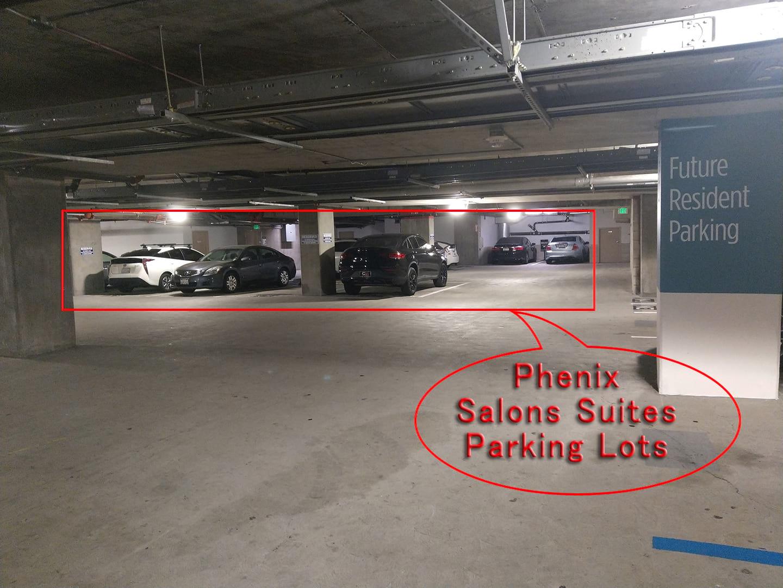 Phenix salon suites parking lots