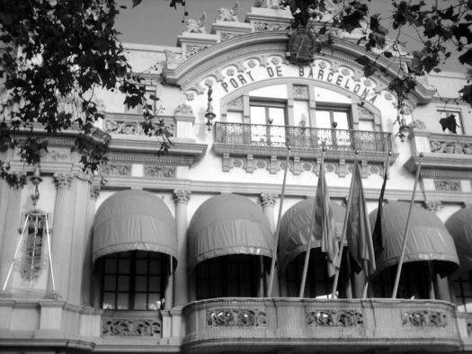 Port of Barcelona in Black and White