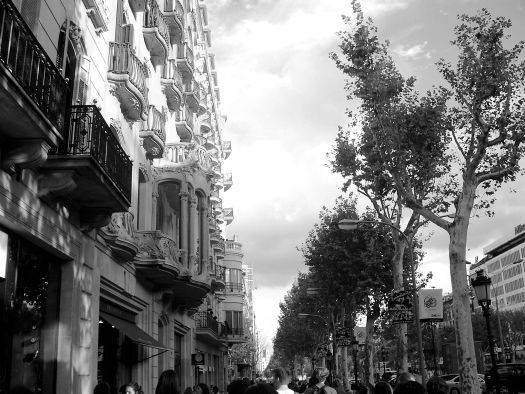 Streets of Barcelona in Black and White