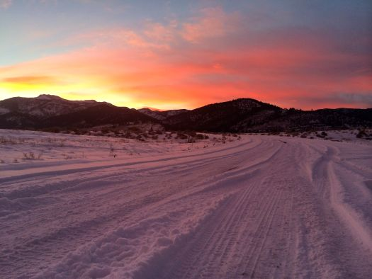 Red sunset in the white snow, Nevada, USA