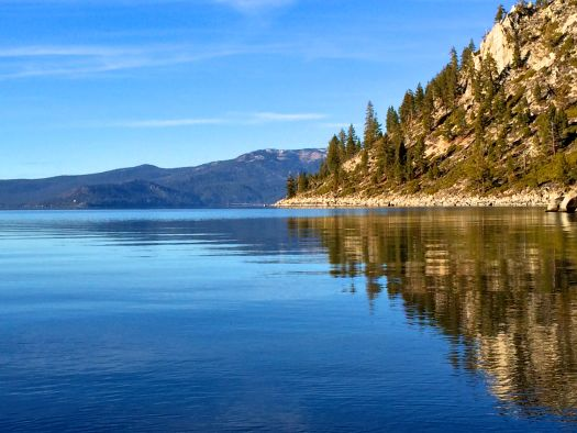 Lake Tahoe forest reflection