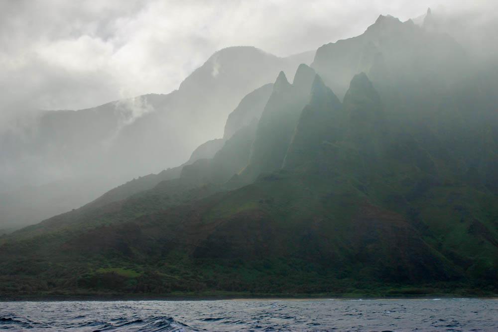 Napali Coast in the rain
