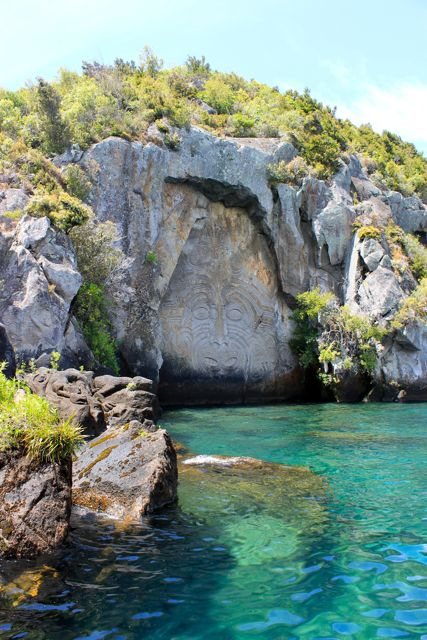 Maori carvings, Lake Taupo, New Zealand