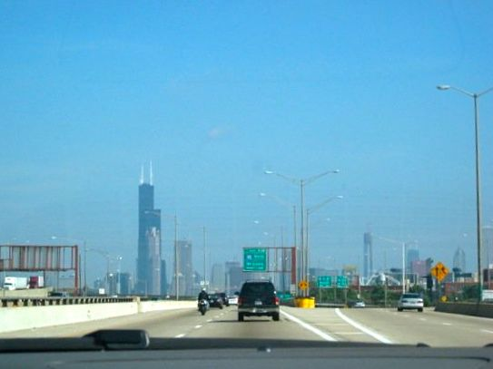 Driving into Chicago from another business trip in Indiana.