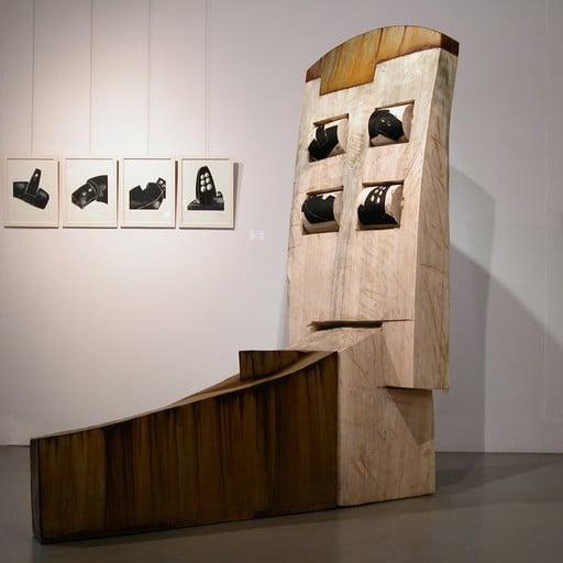 Grosse Sitzende mit Druckwalzen und die dazugehörigen Holzschnitte, Stahl und Holz