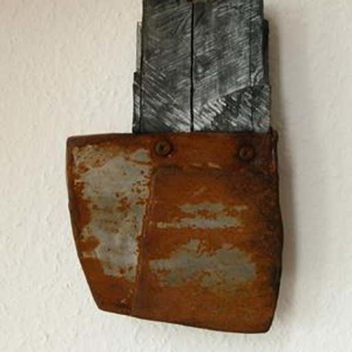 Kopffigur II, Stahl und Holz gekalkt -in Privatbesitz-