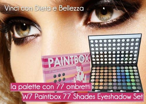 Vinci la Palette di Ombretti W7 Paintbox 77 Shades Eyeshadow con Dieta e Bellezza