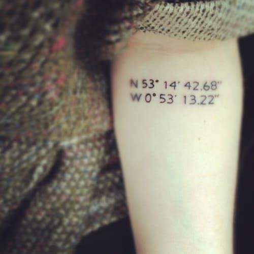 tatuaggio coordinate braccio