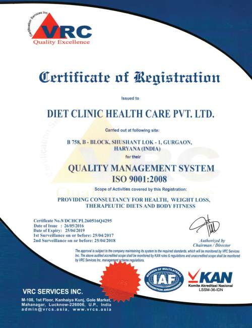 Diet Clinic Certificate of Achievement for best slimming and weight loss clinic in India