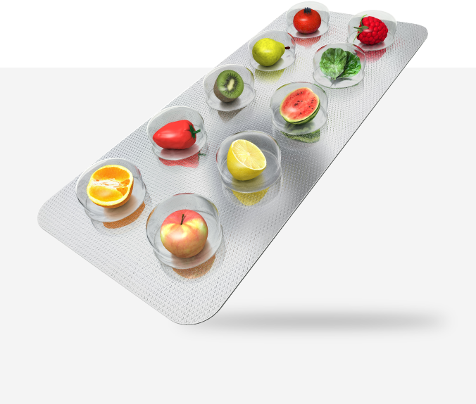 opakowanie na tabletki wypełnione owocami i warzywami