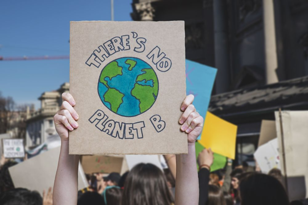 There is no planet b poster claim during a street protest for climate change