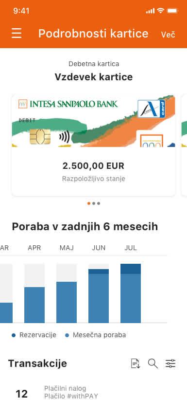 slika detalji kartice mobilna banka