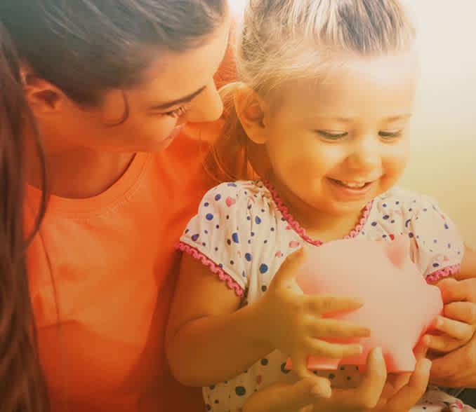 savings account mom and daughter with a savings bank