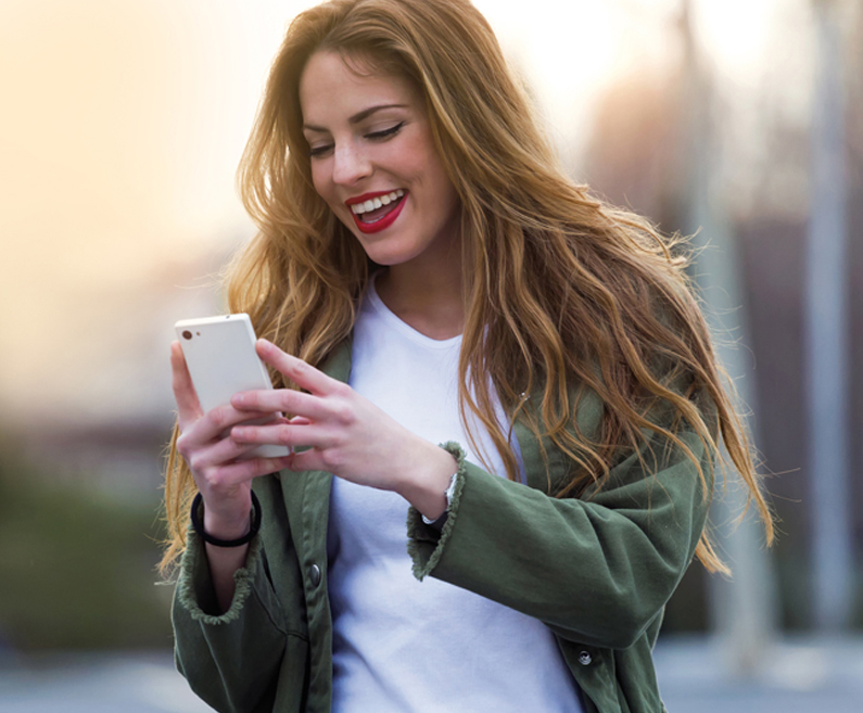 Girl with a mobile phone