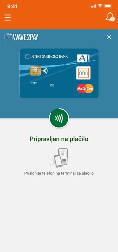 mobilni telefon z mobilno denarnico Wave2Pay