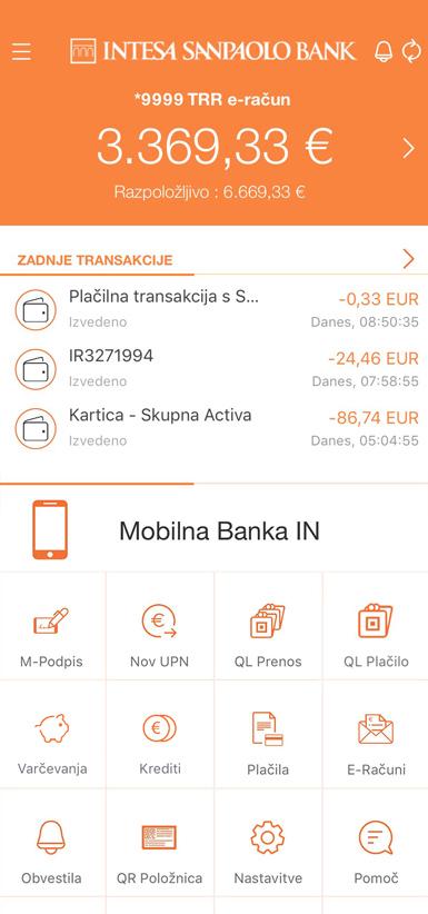 ekranska slika poslovna banka IN