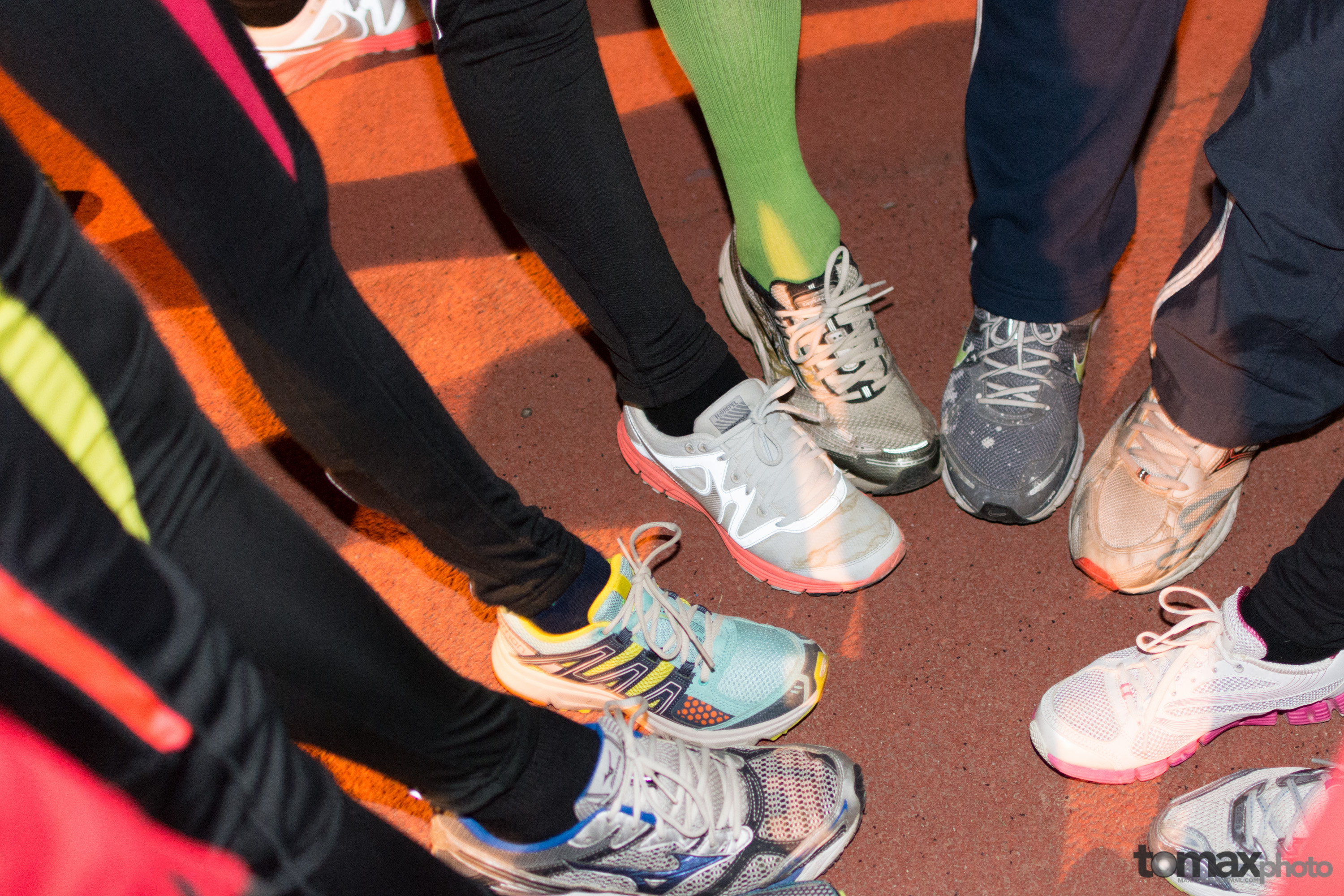 Colourful employees' sneakers on the training