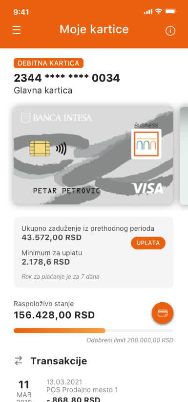 visa inspire kartica banca intesa digitalno bankarstvo
