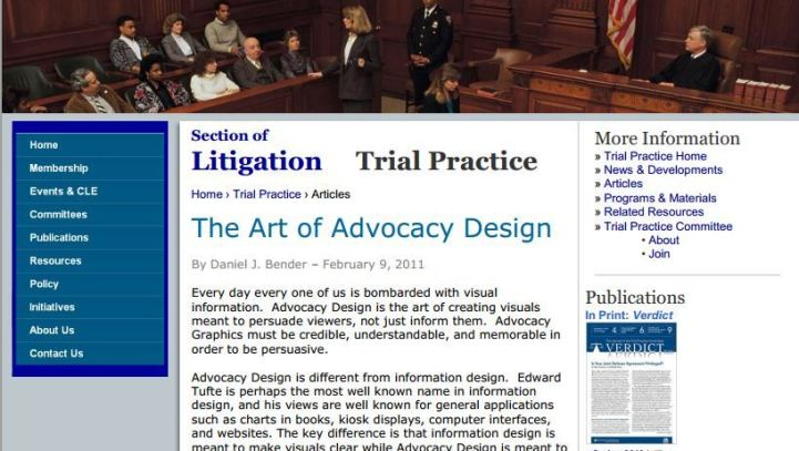 The Art of Advocacy Design; Bender, Daniel J.; Bender; ABA Section of Litigation – Trial Practice Committee