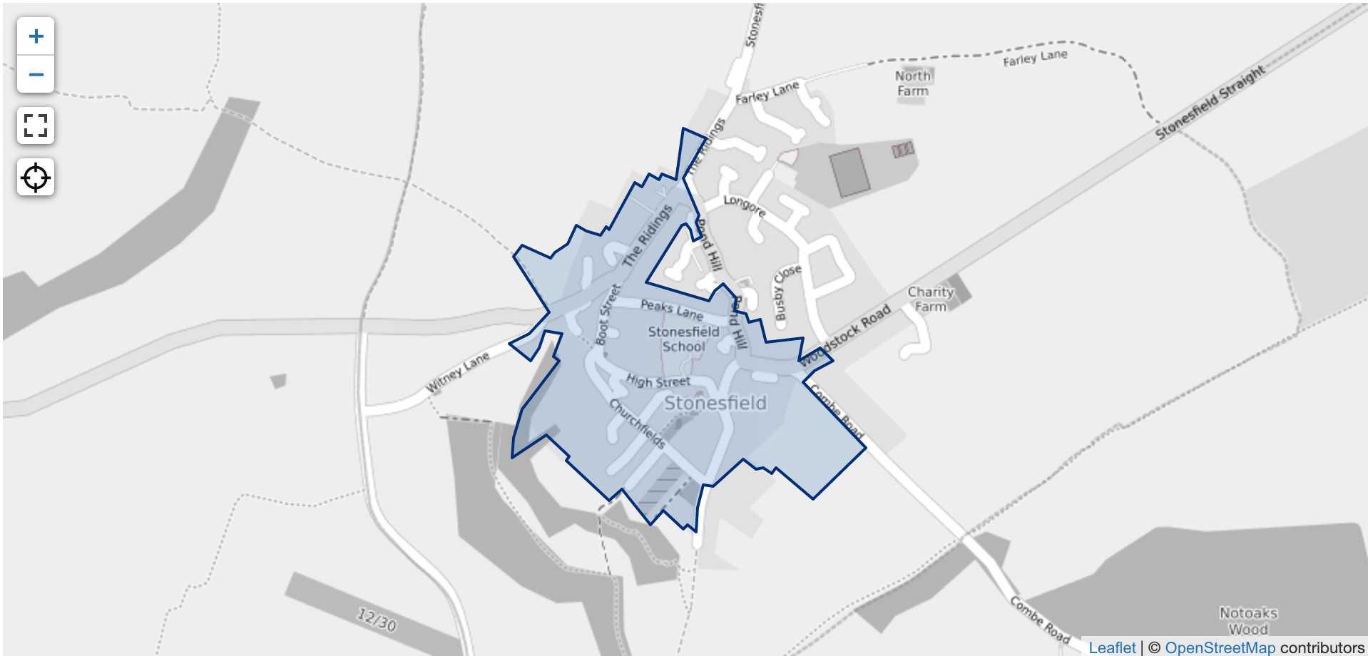 An example of shape data shown on a map - in this case it is the boundary of a conservation area