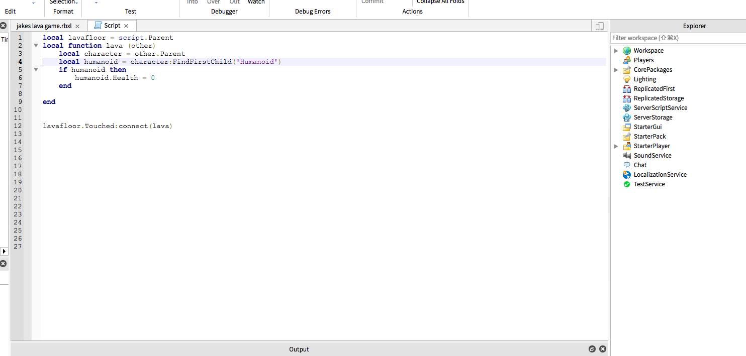 Roblox Lua Scripting Screen