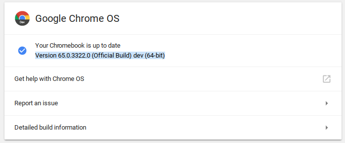 Chrome OS Update Version 65