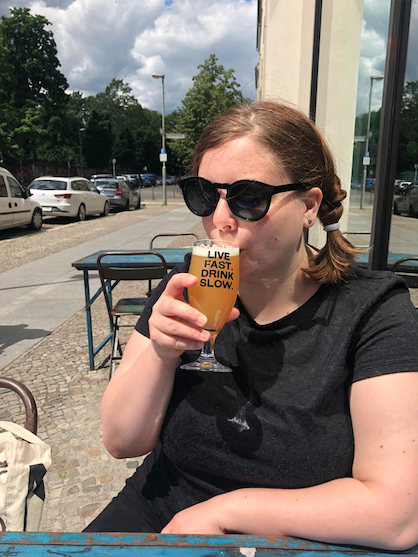 rosamund with beer