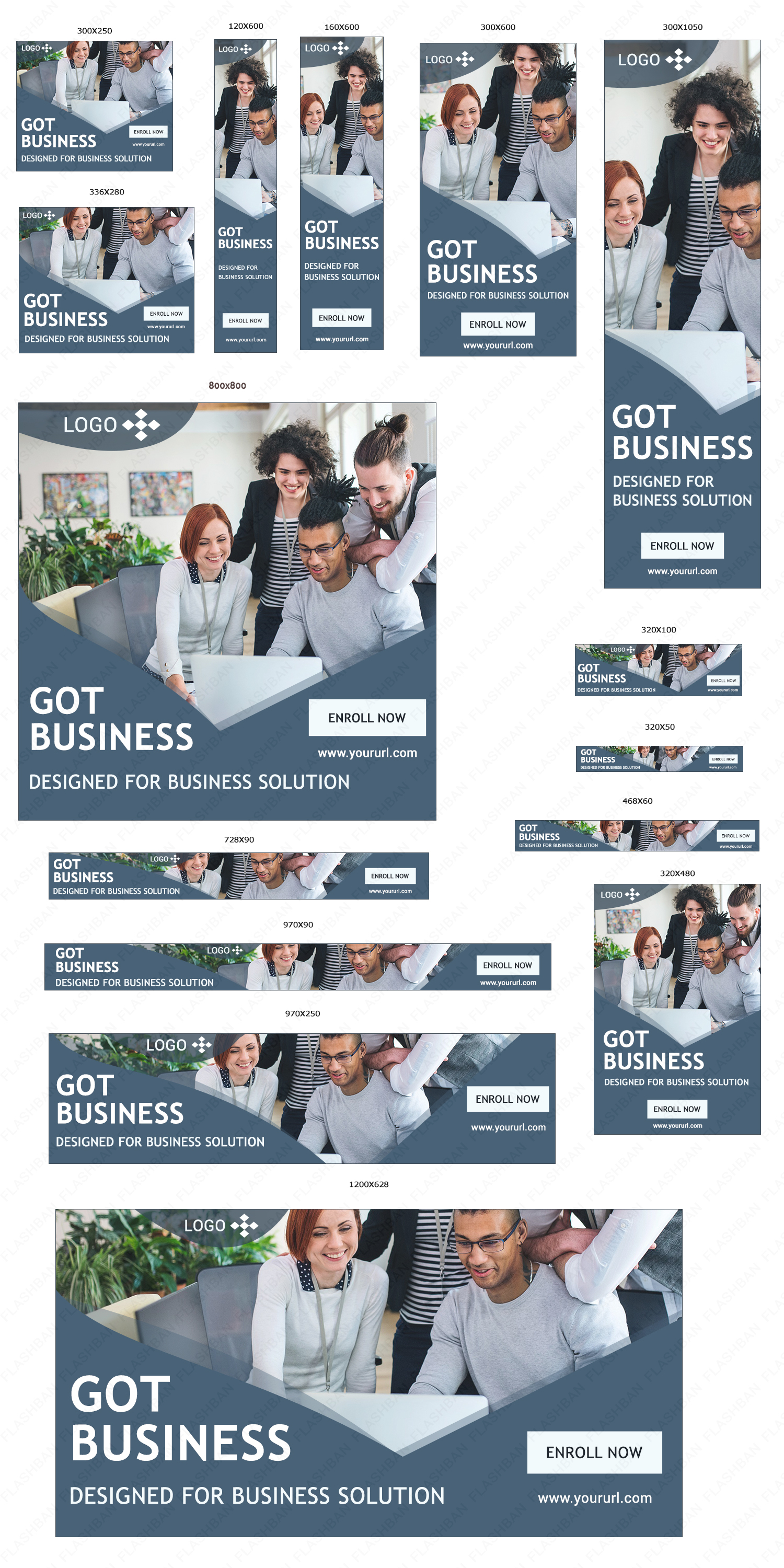 Business AD Banner in 15 different sizes