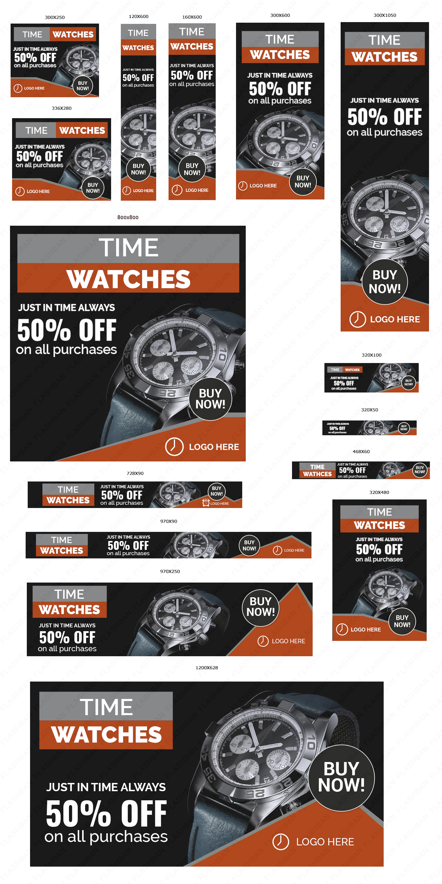 Watch Banner ad in 15 different sizes
