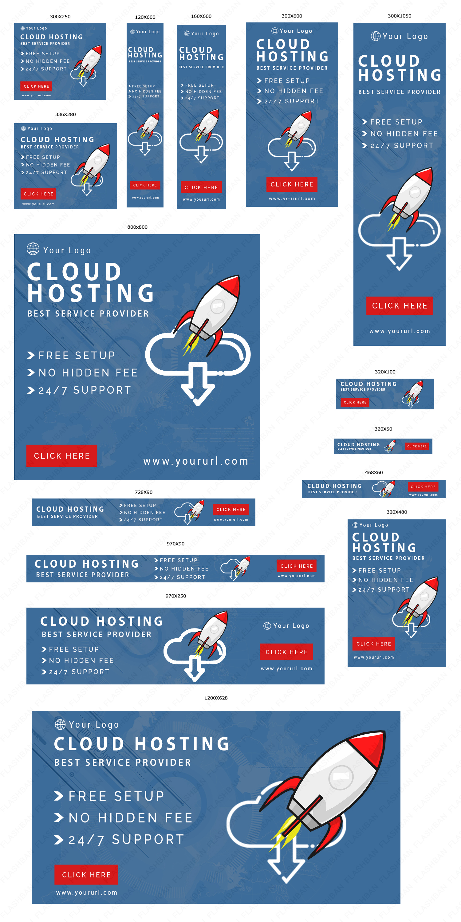 Cloud Hosting AD Banner in 15 different sizes
