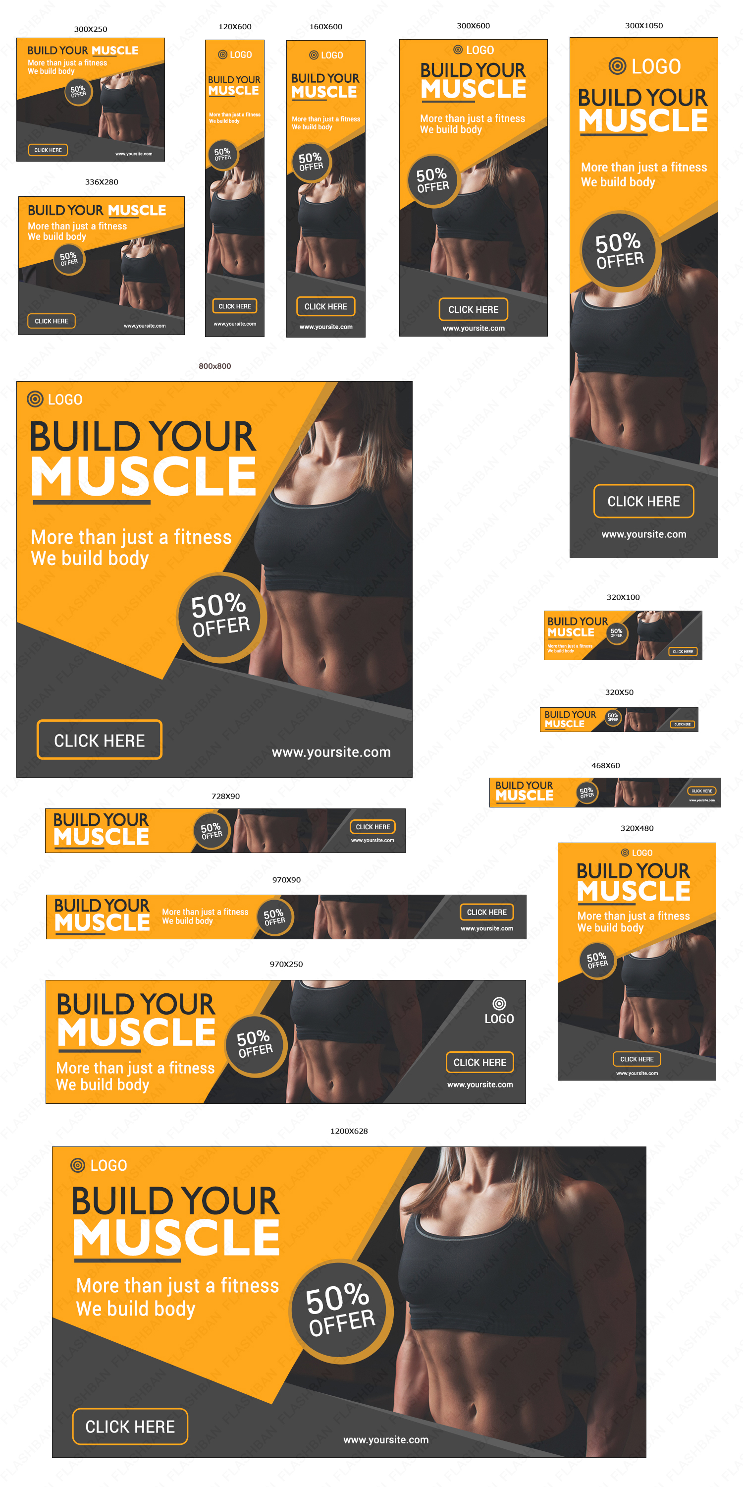 Gym Ad Banner ad in 15 different sizes