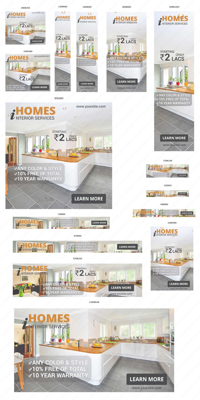 Interior Design Services Ad Banner 15 different sizes