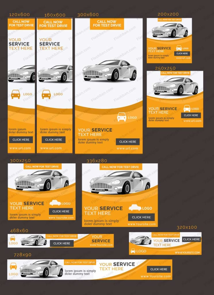 car banner yellow and white color for google ad campaign