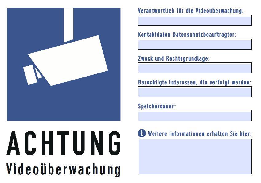 Hinweisschild VideoDSGVO blau 1 - DSGVO konformes Hinweisschild