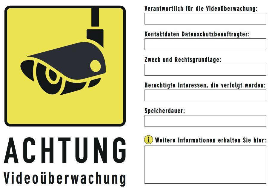 Hinweisschild VideoDSGVO gelb - DSGVO konformes Hinweisschild