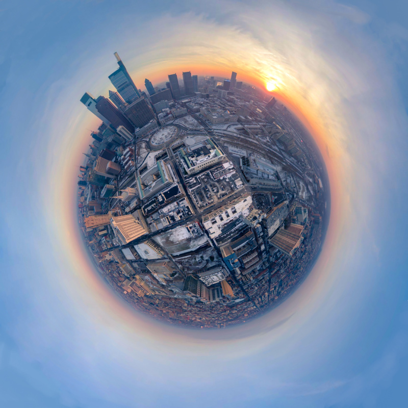 27 drone shots stitched together on a cold evening