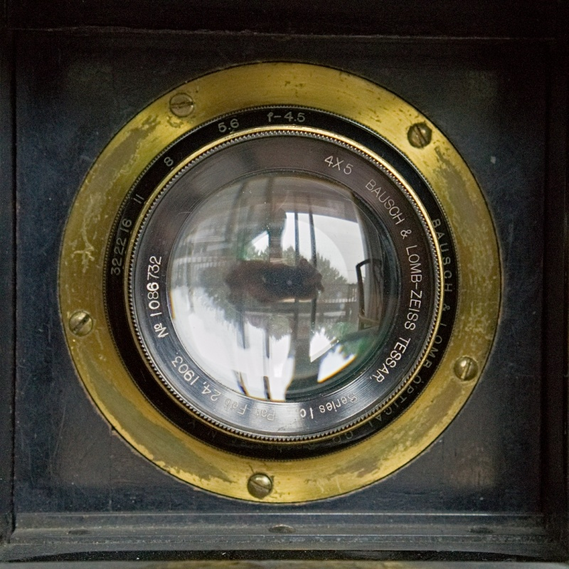 The lens of a large format Graflex camera my Grandfather used in the first half of the 20th century
