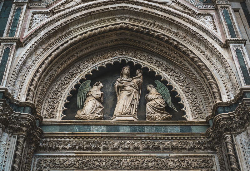 Carvings on the Duomo in Florence
