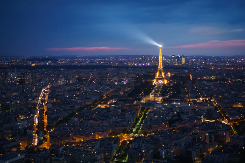 Paris blue hour from Montparnasse tower