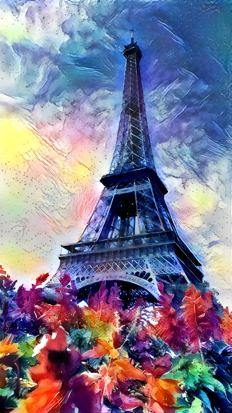 Eiffel Tower turned into a painting