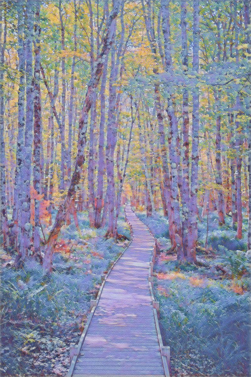 Serene forest path in the style of Capo di Noli - Paul Signac