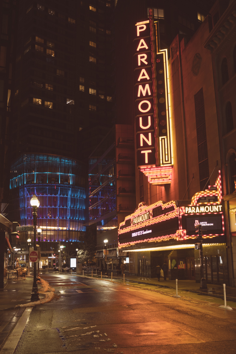 Paramount theater glowing