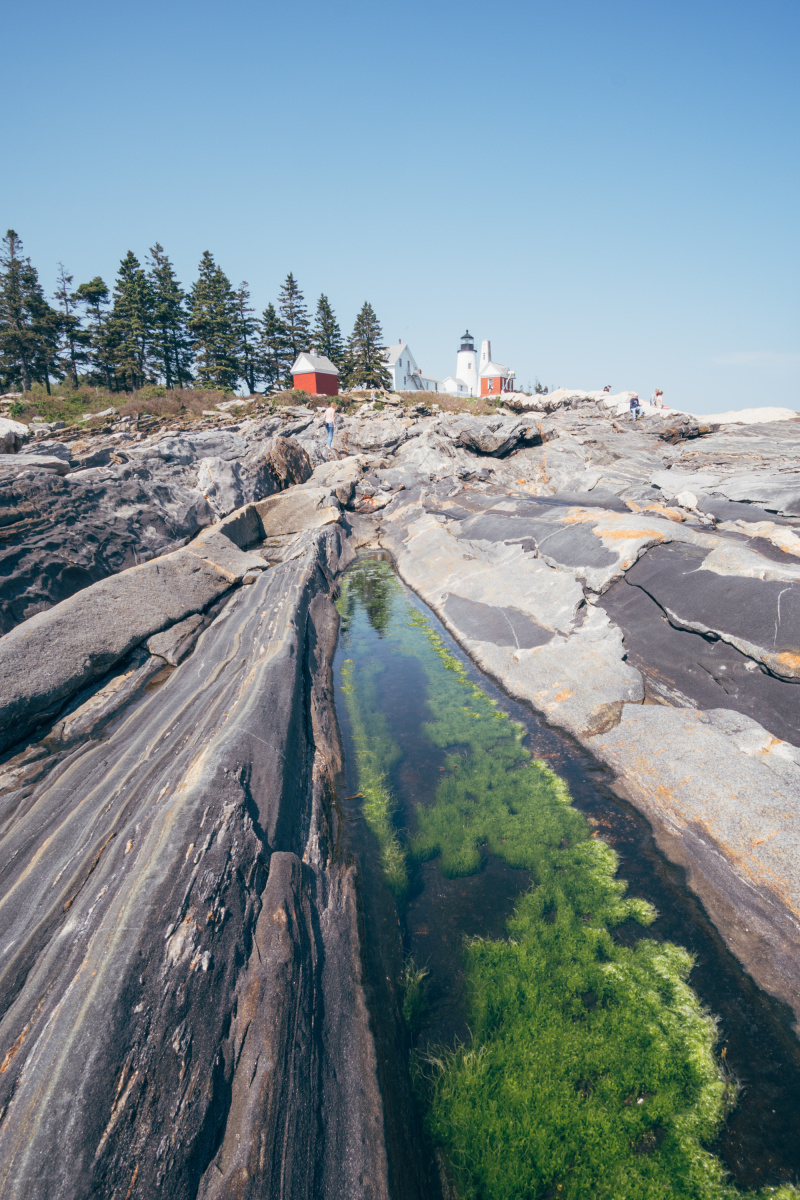 Lighthouse view with tidal pools