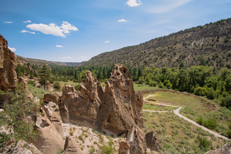 Overlooking the Pueblo ruins with volcanic rocks