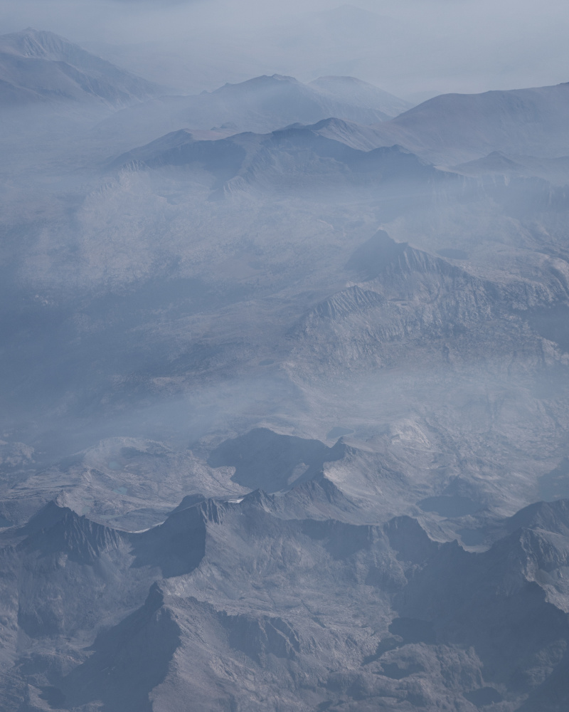 Aerial view of smoky mountains