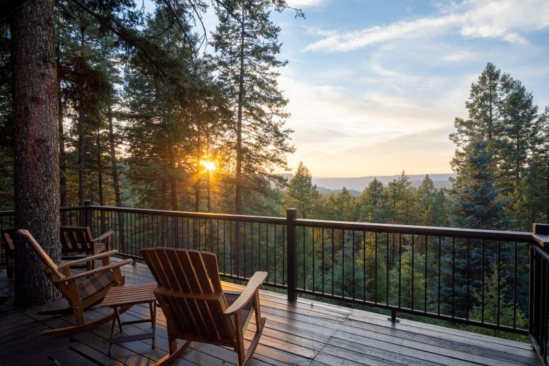 Log cabin sunset view