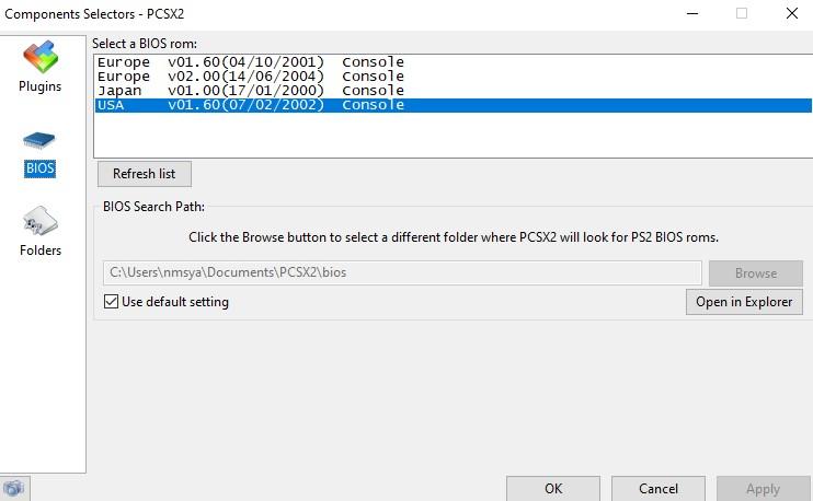 PCSX2 BIOS List Preview