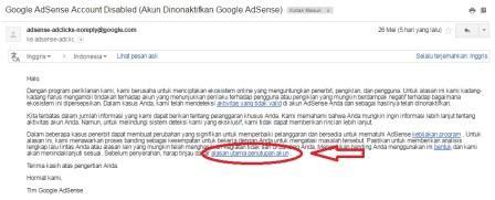 Email yang menyatakan kalau akun google adsense di nonaktifkan