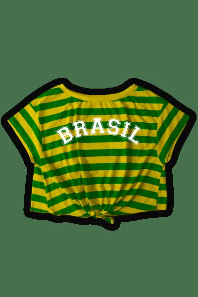 6cf369b3c9 Camiseta Feminina Brasil Retrô Listrada. a partir de