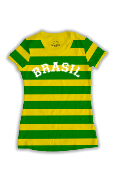 74b3f50354 Camiseta Feminina Brasil Listrada. a partir de